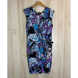 Cache Purple Blue Faux Wrap Dress 10